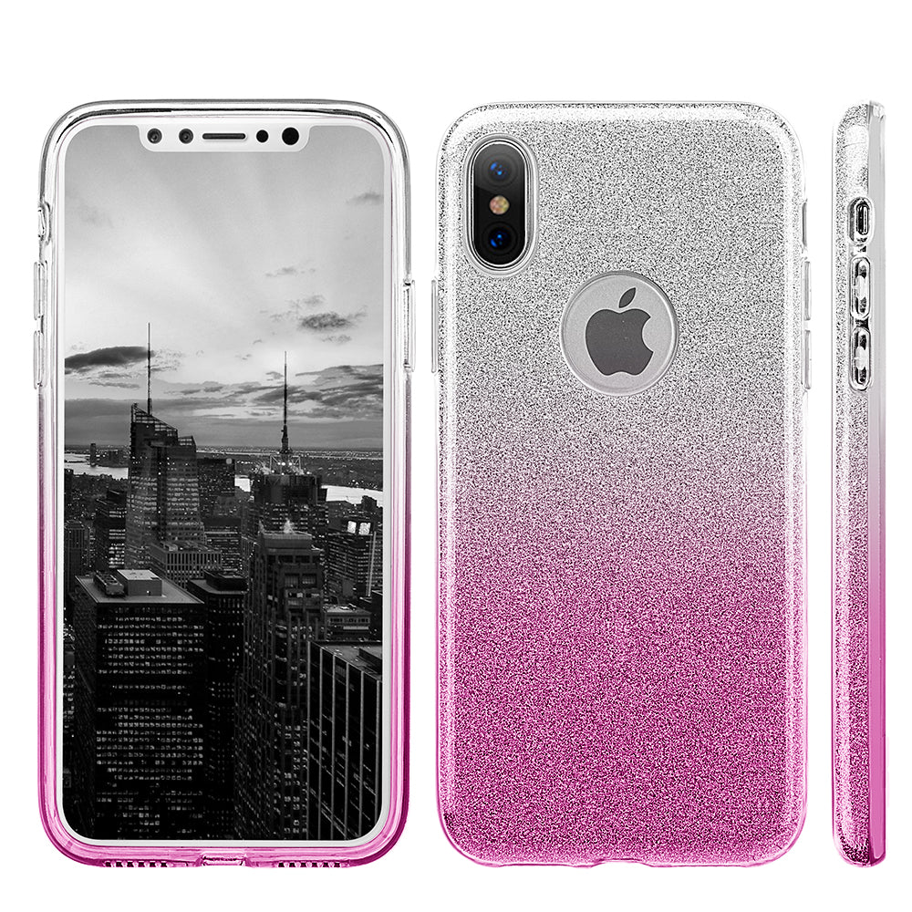 APPLE IPHONE X STARRY DAZZLE LUXURY TPU COVER CASE - SILVER PINK