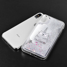 Load image into Gallery viewer, APPLE IPHONE X WATERALL LIQUID SPARKLING QUICKSAND TPU CASE - CATICORN