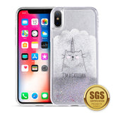 APPLE IPHONE X WATERALL LIQUID SPARKLING QUICKSAND TPU CASE - CATICORN