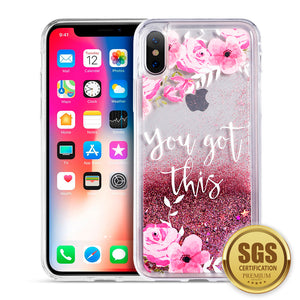 APPLE IPHONE X WATERALL LIQUID SPARKLING QUICKSAND TPU CASE - PINK FLOWERL