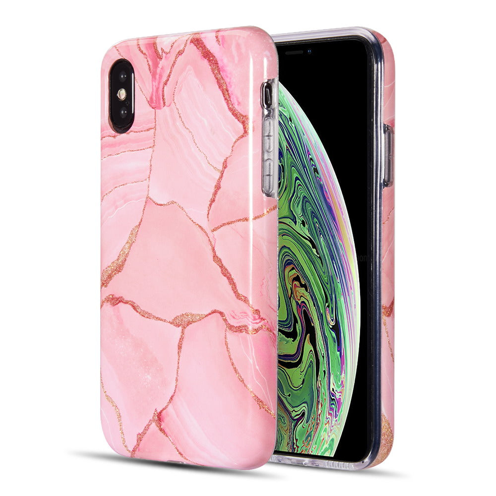 ARTISTRY COLLECTION FULL COVERAGE IMD MARBLE TPU CASE WITH GLITTER FOR IPHONE