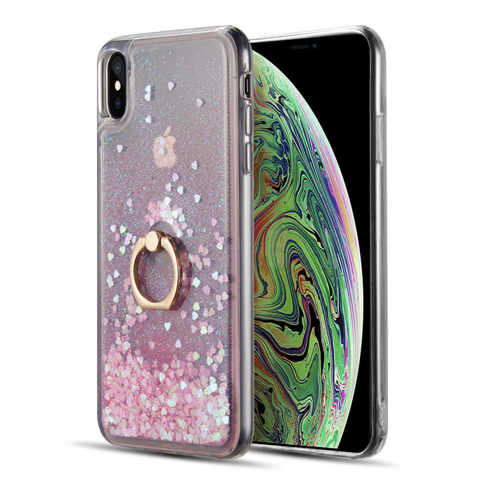 WATERFALL RING LIQUID SPARKLING QUICKSAND TPU CASE - PINK / GREEN