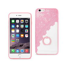 Load image into Gallery viewer, IPHONE 6 PLUS/ 6S PLUS SEXY LACE TPU CASE WITH ROTATING RING STAND HOLDER IN PINK