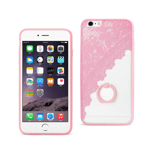 IPHONE SEXY LACE TPU CASE WITH ROTATING RING STAND HOLDER IN PINK