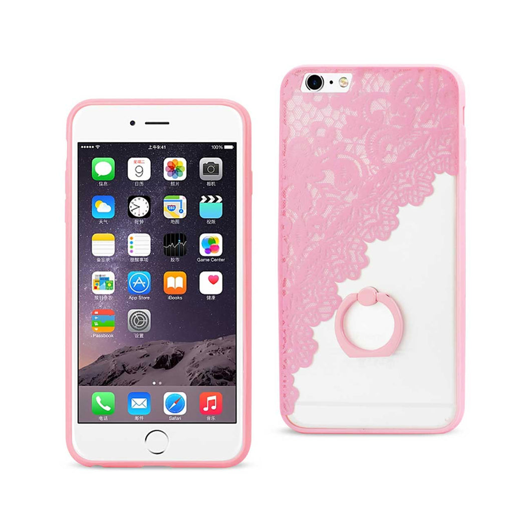 IPHONE 6 PLUS/ 6S PLUS SEXY LACE TPU CASE WITH ROTATING RING STAND HOLDER IN PINK