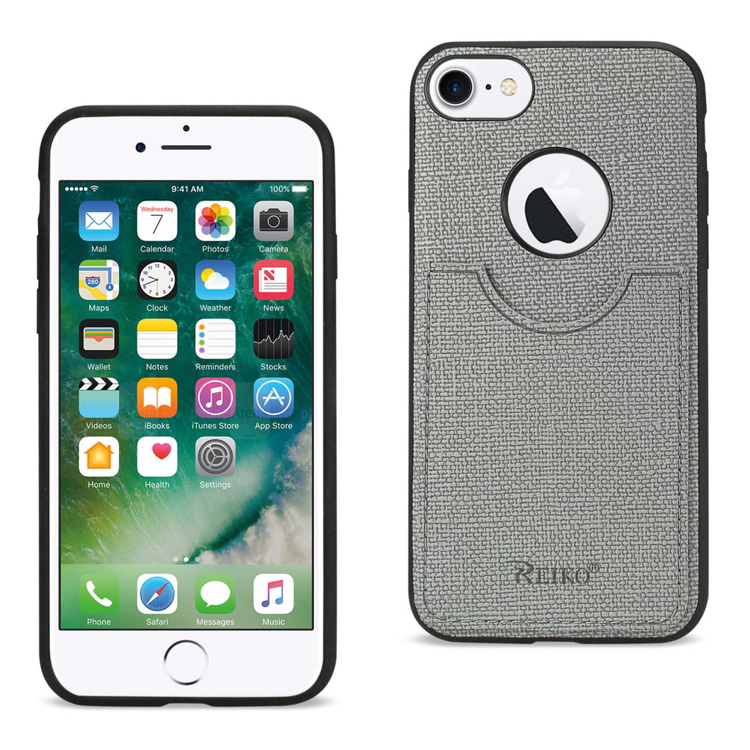 IPHONE 7/ 6/ 6S ANTI-SLIP TEXTURE PROTECTIVE COVER WITH CARD SLOT IN GRAY