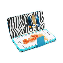 Load image into Gallery viewer, IPHONE 6/6s/7 PLUS WALLET CASE WITH INNER ZEBRA PRINT IN BLUE