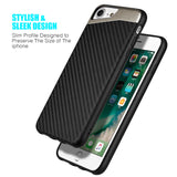 APPLE IPHONE 8/APPLE IPHONE 7 CARBON METALLIC FUSION CANDY CASE TPU WITH CARBON FIBER FINISH - BLACK