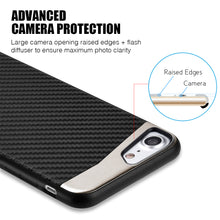 Load image into Gallery viewer, APPLE IPHONE 8/APPLE IPHONE 7 CARBON METALLIC FUSION CANDY CASE TPU WITH CARBON FIBER FINISH - BLACK