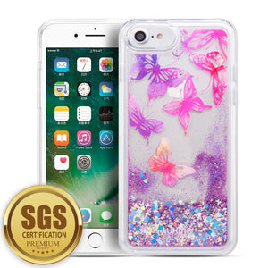 LUXMO APPLE IPHONE 8 /IPHONE 7 / IPHONE 6S / IPHONE 6 WATERFALL FUSION LIQUID SPARKLING QUICKSAND CASE - BUTTERFLY MELODY