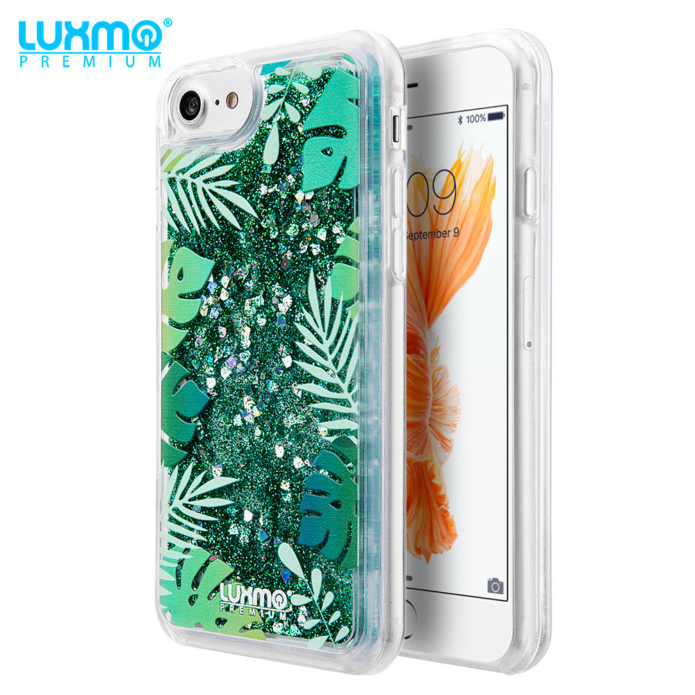 TROPICAL SUMMER WATER COLOR LIQUID GLITTER CASE
