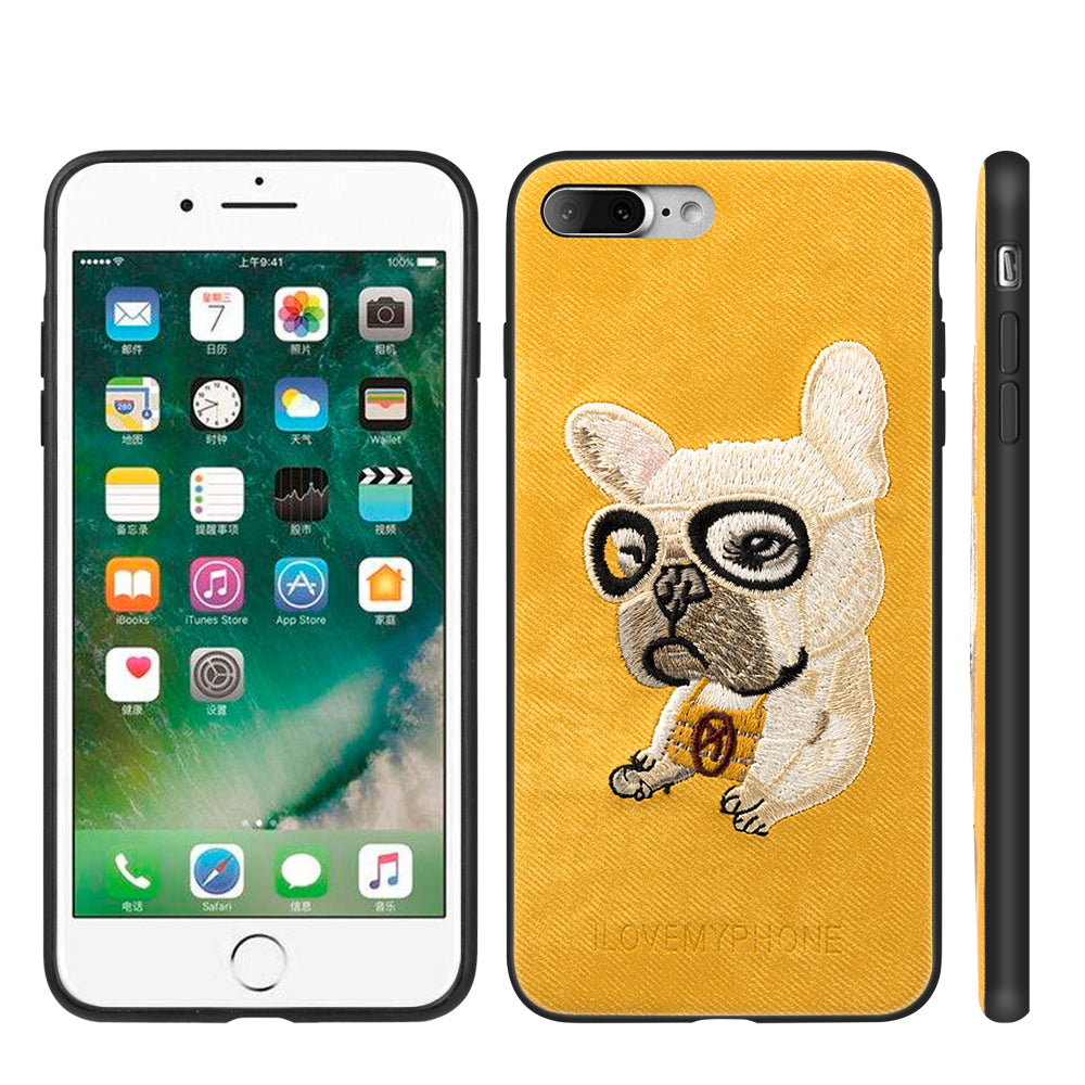 APPLE IPHONE 8 PLUS / IPHONE 7 PLUS ADORABLES FUSION CANDY TPU PC CASE WITH EMBROIDERY PUPPIES DESIGN - FRENCH BULLDOG