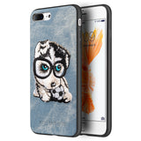 APPLE IPHONE 8/APPLE IPHONE 7 ADORABLES FUSION CANDY TPU PC CASE WITH EMBROIDERY PUPPIES DESIGN - HUSKY