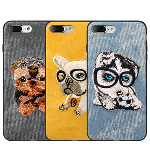 APPLE IPHONE 8/APPLE IPHONE 7 ADORABLES FUSION CANDY TPU PC CASE WITH EMBROIDERY PUPPIES DESIGN - YORKSHIRE