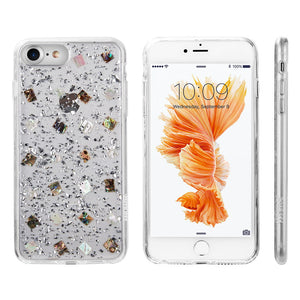 LUXMO PREMIUM THE SEASHELL SERIES FOR IPHONE 8 / 7 / 6 FUSION CANDY CASE WITH GOLD LEAF - Silver