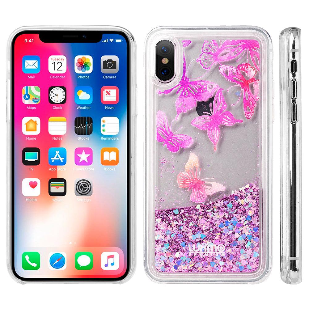 LUXMO APPLE IPHONE X WATERFALL FUSION LIQUID SPARKLING QUICKSAND CASE - BUTTERFLY MELODY
