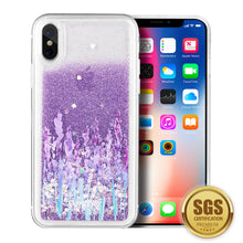 Load image into Gallery viewer, LUXMO APPLE IPHONE X WATERFALL FUSION LIQUID SPARKLING QUICKSAND CASE - LOVE & LAVENDER