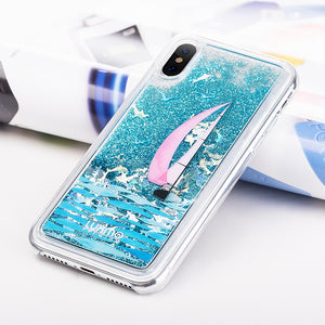 LUXMO APPLE IPHONE X WATERFALL FUSION LIQUID SPARKLING QUICKSAND CASE - SAILING IN PARADISE
