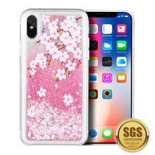 Load image into Gallery viewer, LUXMO APPLE IPHONE X WATERFALL FUSION LIQUID SPARKLING QUICKSAND CASE - SAKURA