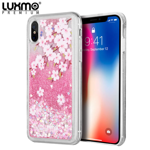 LUXMO APPLE IPHONE X WATERFALL FUSION LIQUID SPARKLING QUICKSAND CASE - SAKURA
