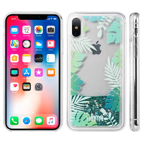 LUXMO APPLE IPHONE X WATERFALL FUSION LIQUID SPARKLING QUICKSAND CASE - TROPICAL SUMMER