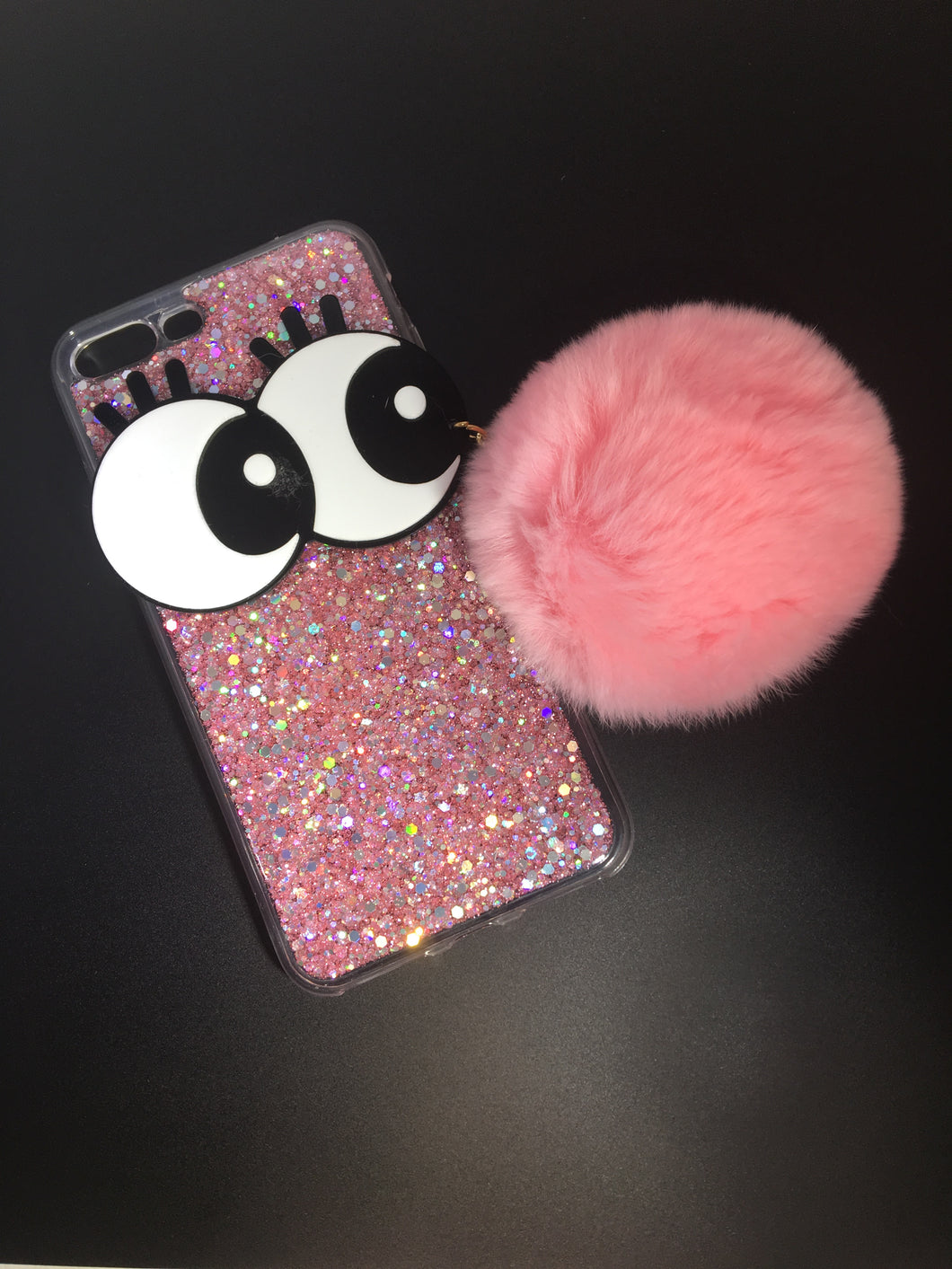 BIG EYE GLITTER POMPOM CASE