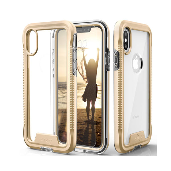 IPHONE XS MAX ZIZO ION TRIPLE LAYERED HYBRID COVER- GOLD / CLEAR