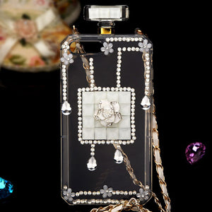 DIAMANTE FLOWER PERFUME BOTTLE CASE WHITE