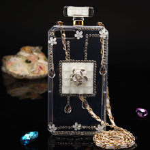 Load image into Gallery viewer, DIAMANTE FLOWER PERFUME BOTTLE CASE WHITE