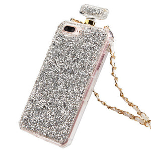 SILVER MINI DIAMANTE PERFUME BOTTLE CASE