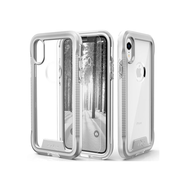 IPHONE XR - ZIZO ION TRIPLE LAYERED HYBRID CASE - SILVER/ CLEAR