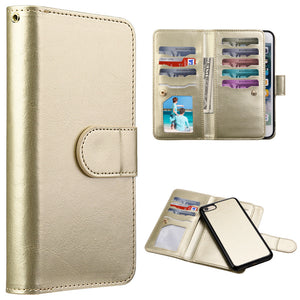 TIMBERLAND DOUBLE FLOP LEATHER WALLET WITH MAGNETIC PHONE HOLDER - GOLD