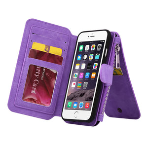 APPLE IPHONE 8/APPLE IPHONE 7 LUXURY COACH SERIES FLIP WALLET CASE - PURPLE