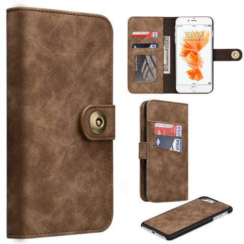 APPLE IPHONE 8/APPLE IPHONE 7 LUXURY COACH LITE SERIES FLIP WALLET CASE - BROWN