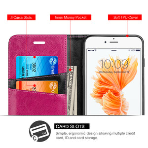 APPLE IPHONE 8/APPLE IPHONE 7 LUXURY DYNAMIC LEATHER MAGNETIC FLIP WALLET CASE - HOT PINK ON BLACK
