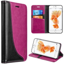Load image into Gallery viewer, APPLE IPHONE 8/APPLE IPHONE 7 LUXURY DYNAMIC LEATHER MAGNETIC FLIP WALLET CASE - HOT PINK ON BLACK