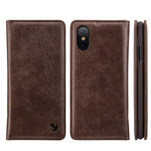 Load image into Gallery viewer, APPLE IPHONE X LUXURY GENTLEMAN MAGNETIC FLIP LEATHER WALLET CASE - BROWN