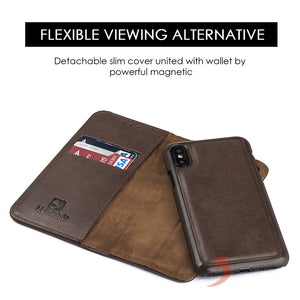 APPLE IPHONE X LUXURY GENTLEMAN MAGNETIC FLIP LEATHER WALLET CASE - BROWN