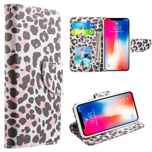 Load image into Gallery viewer, APPLE IPHONE X TRNDY LEATHER FLIP WALLET CASE - LADY LEOPARD