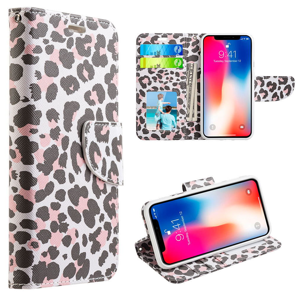 APPLE IPHONE X TRNDY LEATHER FLIP WALLET CASE - LADY LEOPARD