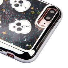 Load image into Gallery viewer, CUTE SKULLS BLACK lLIQUID GLITTER CASE