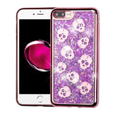 CUTE SKULLS PURPLE lLIQUID GLITTER CASE