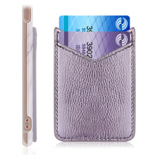 Load image into Gallery viewer, UNIVERSAL ADHESIVE LEATHER DUAL V-SHAPE CARD SLEEVES - LIGHT PURPLE