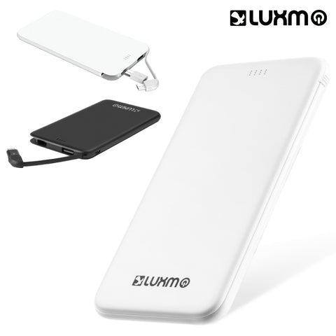 LUXMO UNIVERSAL ULTRA SLIM CHARGE 5000MAH EXTERNAL POWER BANK W/ BUILT-IN CABLE AND MICRO USB TO 8-PIN CONVERTOR - WHITE
