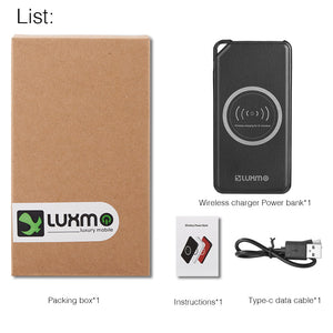 UNIVERSAL 8000 MAH PORTABLE POWER BANK DUAL USB OUTPUT WITH WIRELESS CHARGING FUNCTION - BLACK