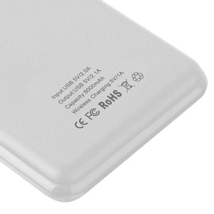 UNIVERSAL 8000 MAH PORTABLE POWER BANK DUAL USB OUTPUT WITH WIRELESS CHARGING FUNCTION - WHITE