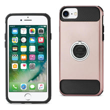 Load image into Gallery viewer, IPHONE 7/ 6/ 6S HYBRID CASE WITH 360 DEGREE ROTATING RING STAND HOLDER IN ROSE GOLD