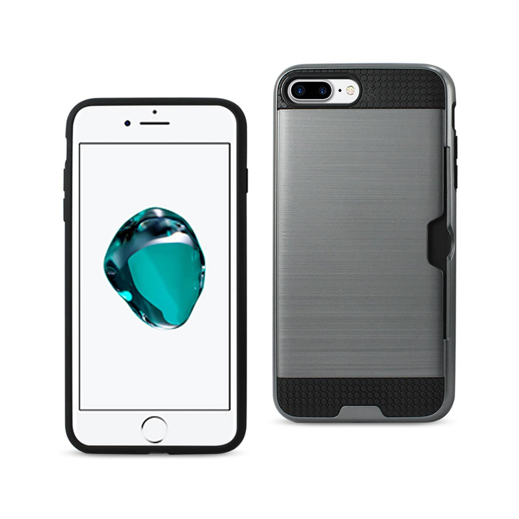 SLIM ARMOR HYBRID CASE WITH CARD HOLDER IN SILVER