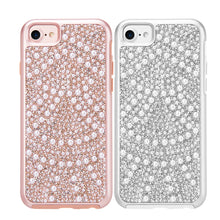Load image into Gallery viewer, APPLE IPHONE DIAMOND PEARL PLATINUM COLLECTION HYBRID BUMPER CASE