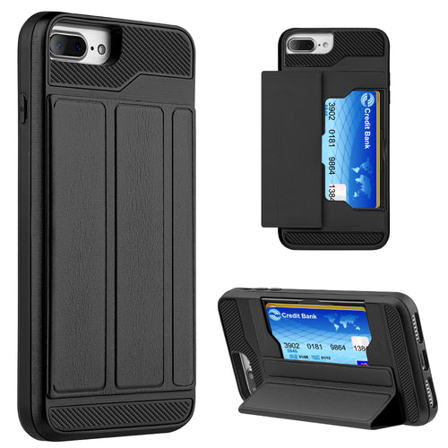APPLE IPHONE 8 PLUS / IPHONE 7 PLUS HYBRID CONVENIENT CARD CASE WITH MAGNETICTRI-FOLD COVER - BLACK